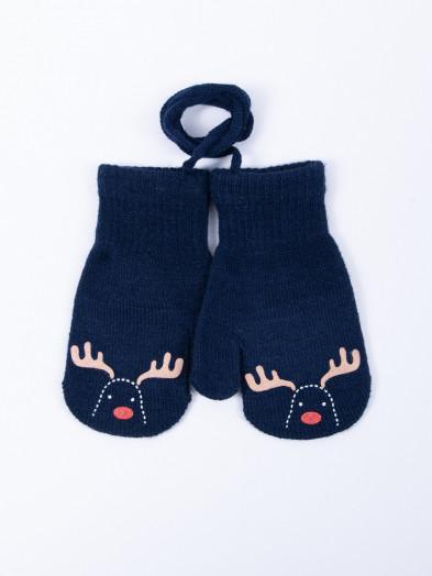 Rękawiczki dziecięce jednopalczaste ze sznurkiem granatowe z reniferem