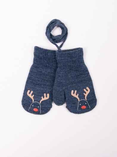 Rękawiczki dziecięce jednopalczaste ze sznurkiem grafitowe z reniferem