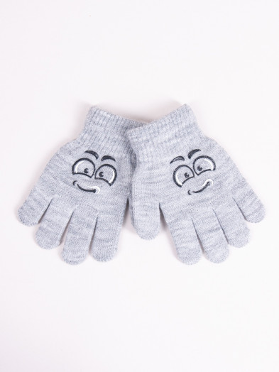 Rękawiczki dziecięce pięciopalczaste szare z minką