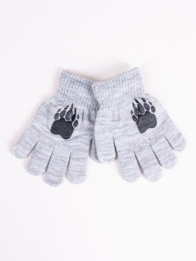 Rękawiczki dziecięce pięciopalczaste szare z łapką