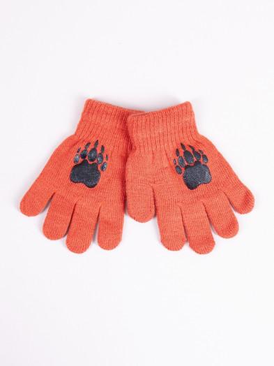 Rękawiczki dziecięce pięciopalczaste ceglaste z łapką