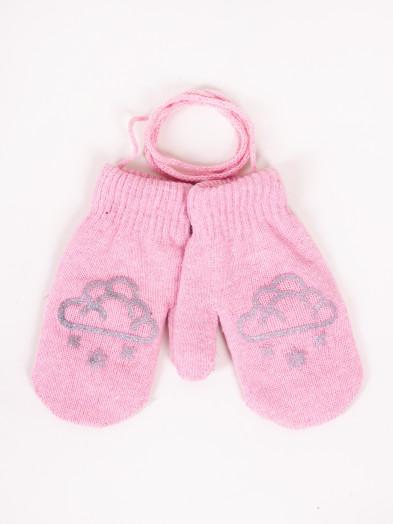 Rękawiczki dziecięce jednopalczaste ze sznurkiem różowe z chmurką