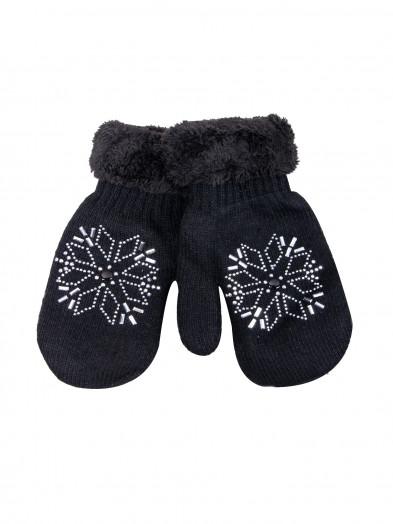 Rękawiczki damskie futrzane ze śnieżynką czarne