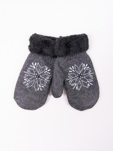 Rękawiczki damskie futrzane ze śnieżynką grafitowe