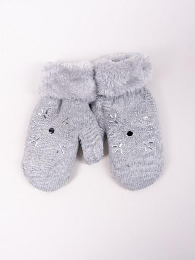 Rękawiczki damskie futrzane ze śnieżynką szare