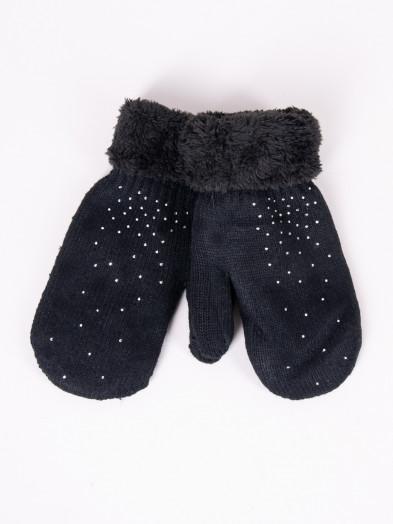 Rękawiczki damskie futrzane z jetami czarne