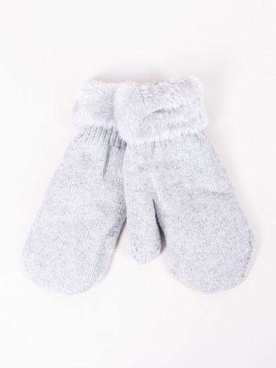 Rękawiczki damskie futrzane z jetami szare