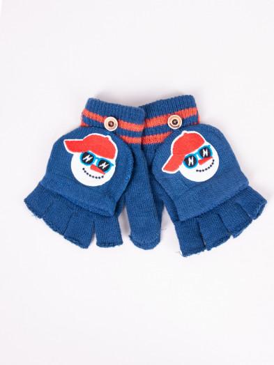 Rękawiczki dziecięce mitenki z odpinaną klapką niebieskie z bałwankiem