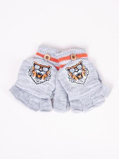 Rękawiczki dziecięce mitenki z odpinaną klapką szare z tygrysem