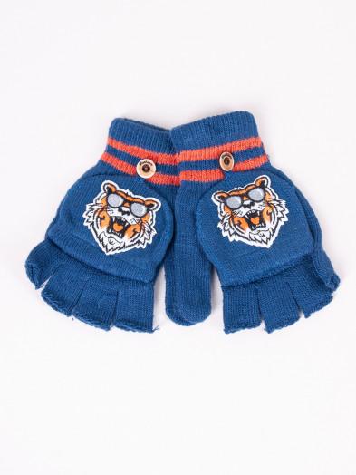 Rękawiczki dziecięce mitenki z odpinaną klapką niebieskie z tygrysem
