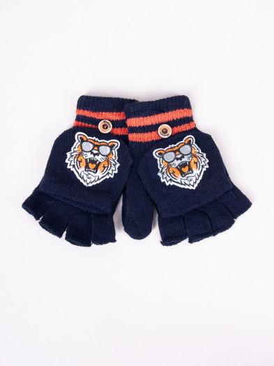 Rękawiczki dziecięce mitenki z odpinaną klapką granatowe z tygrysem